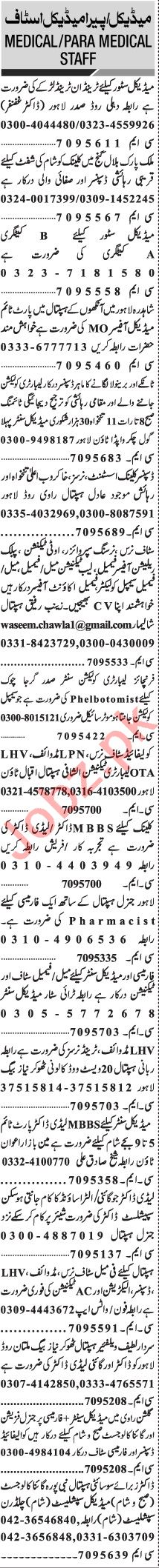 Jang Sunday Classified Ads 28 Feb 2021 for Medical Staff