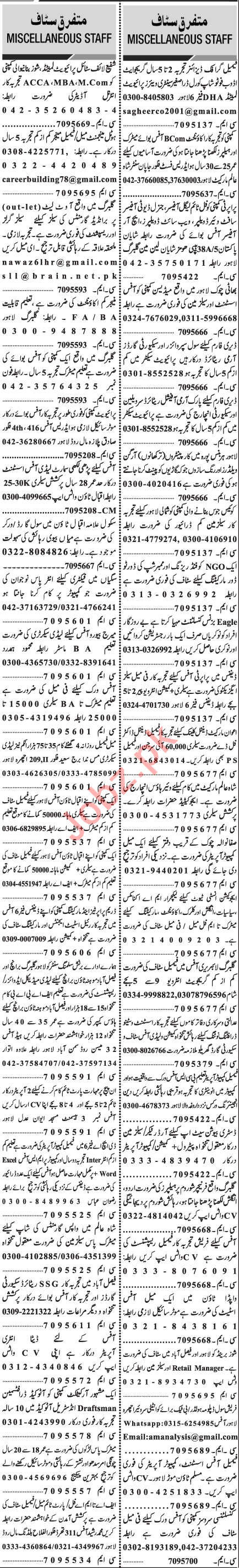 Jang Sunday Classified Ads 28 Feb 2021 for Management Staff