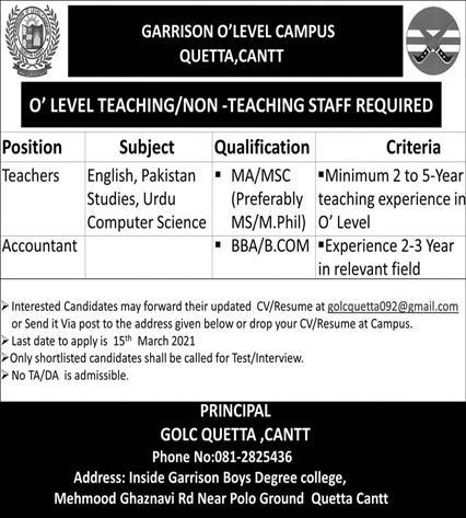 Garrison O Level Campus Quetta Cantt Jobs 2021