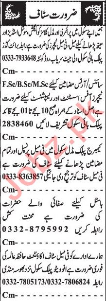Jang Sunday Classified Ads 28 Feb 2021 for Teaching Staff