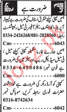 Jang Sunday Classified Ads 28 Feb 2021 for General Staff