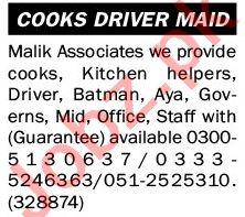 Malik Associates Jobs 2021 for Kitchen Helpers & Cook