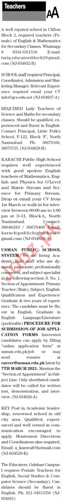 The News Sunday Classified Ads 28 Feb 2021 for Teaching