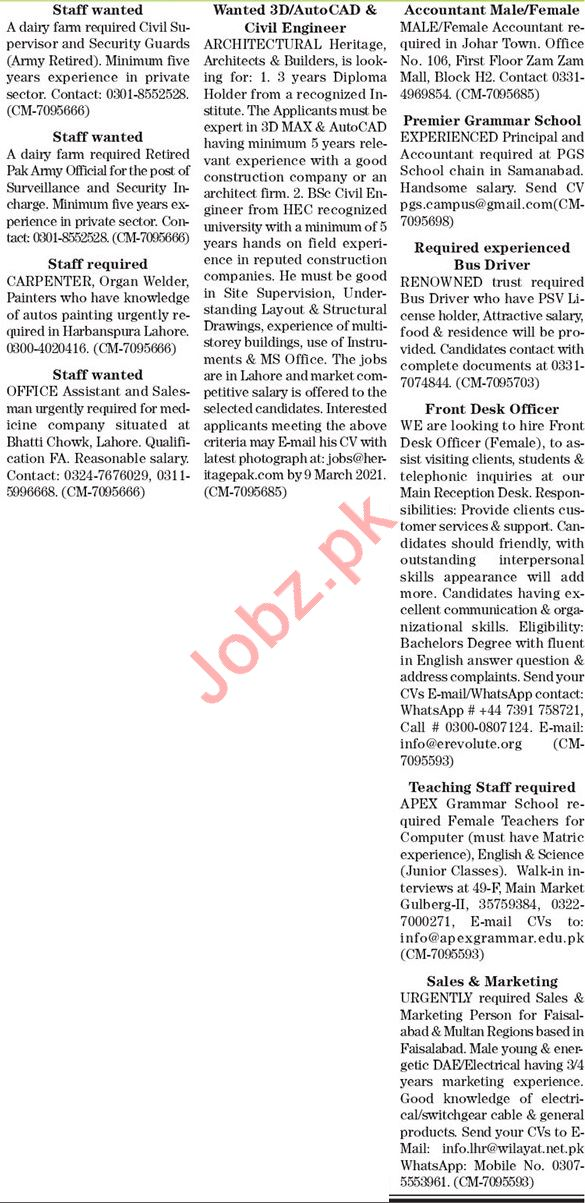 The News Sunday Classified Ads 28 Feb 2021 for Office Staff
