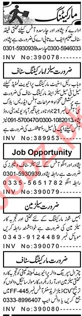 Aaj Sunday Classified Ads 28 Feb 2021 for Marketing Staff