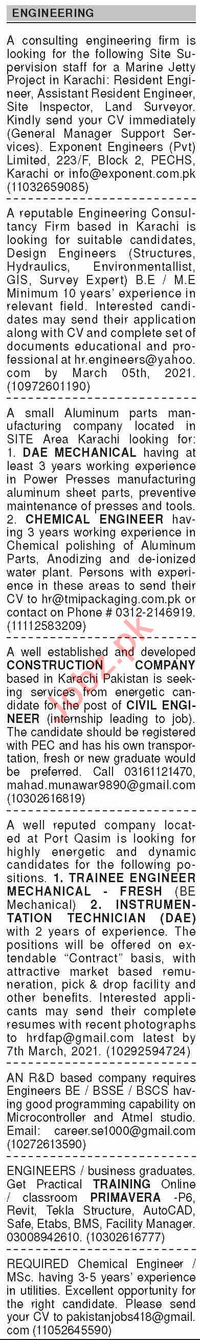 Dawn Sunday Classified Ads 28 Feb 2021 for Engineering Staff
