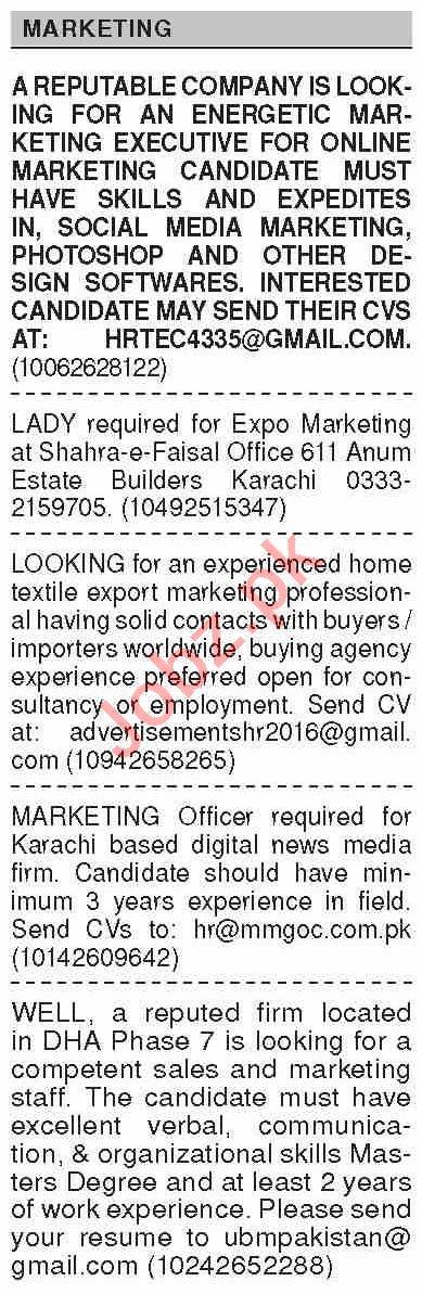 Dawn Sunday Classified Ads 28 Feb 2021 for Marketing Staff