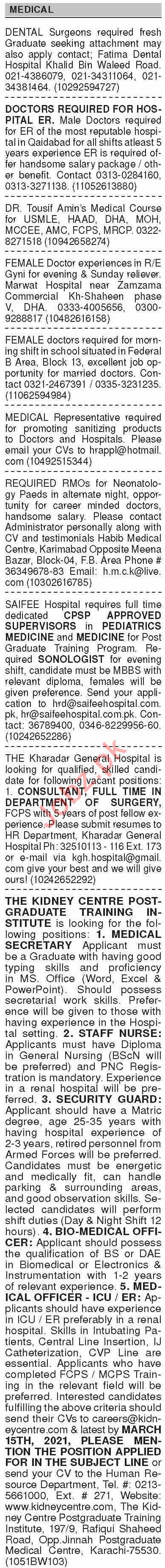 Dawn Sunday Classified Ads 28 Feb 2021 for Medical Staff
