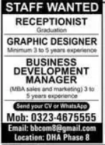 Receptionist and Graphics Designer Jobs 2021