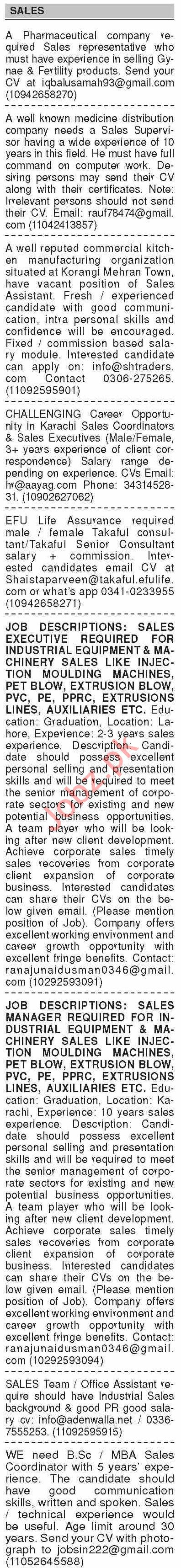 Dawn Sunday Classified Ads 28 Feb 2021 for Sales Staff