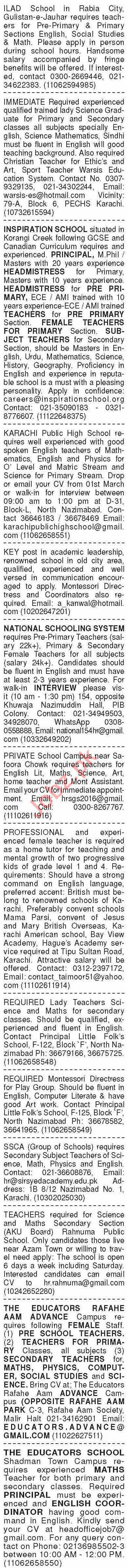 Dawn Sunday Classified Ads 28 Feb 2021 for Teaching Staff