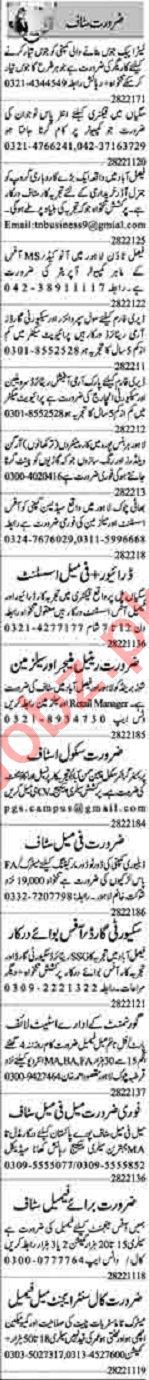 Dunya Sunday Classified Ads 28 Feb 2021 for Office Staff