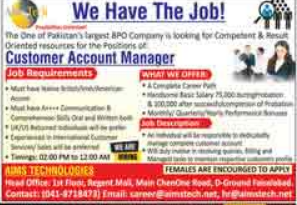 AIMS Technologies Jobs 2021 for Customer Account Manager