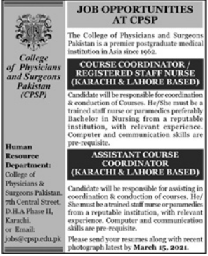 College of Physicians and Surgeons of Pakistan Jobs 2021