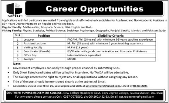Lecturer and Visiting Faculty Jobs 2021 in Taunsa Sharif