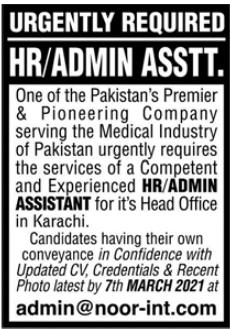HR & Admin Assistant Job 2021 in Karachi Office