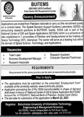 BUITEMS University Jobs 2021 in Quetta Balochistan