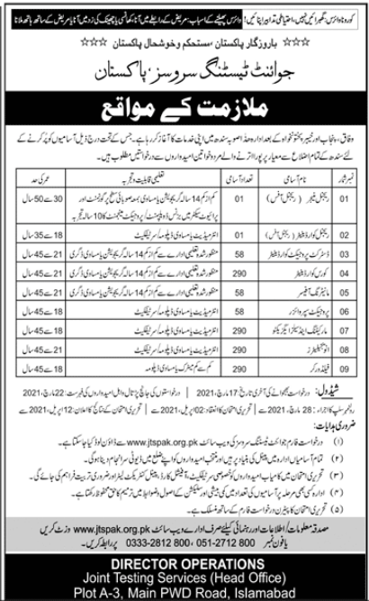 Joint Testing Services Pakistan JTS Jobs 2021 For Islamabad