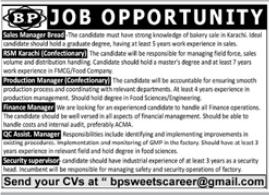 BP Sweets Jobs 2021 in Karachi