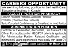Educational Institution Jobs 2021 in Karachi