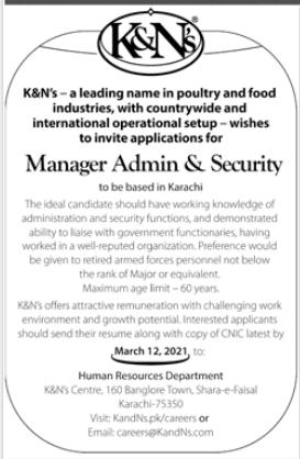 Manager Admin & Security Job 2021 in Karachi
