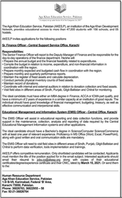 Aga Khan Education Service Pakistan AKESP Jobs 2021