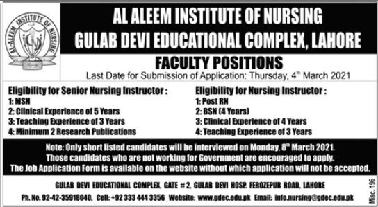 Al Aleem Institute of Nursing Faculty Jobs 2021