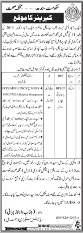 Health Department Job 2021 For Director in Jacobabad