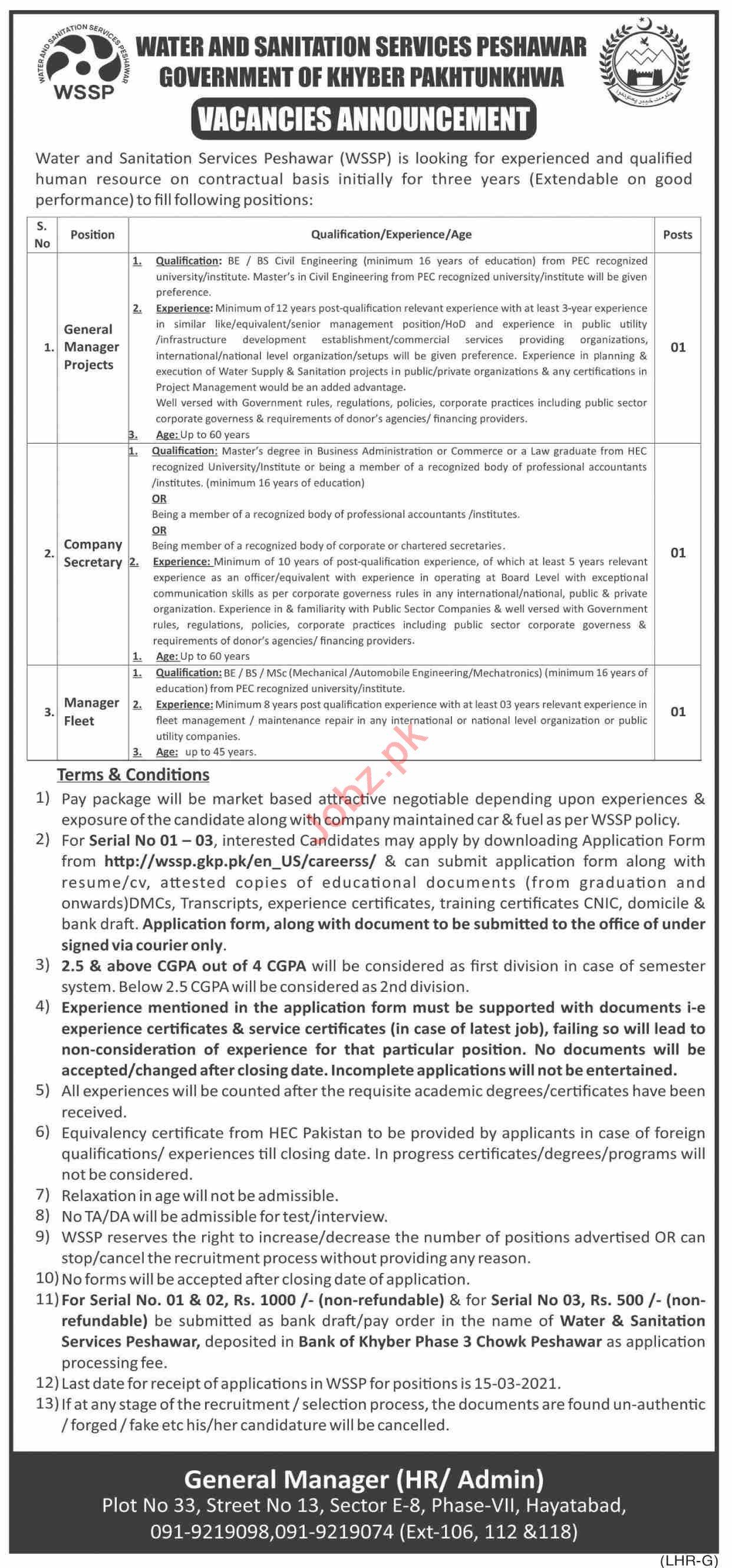 Water & Sanitation Services Peshawar WSSP Jobs 2021