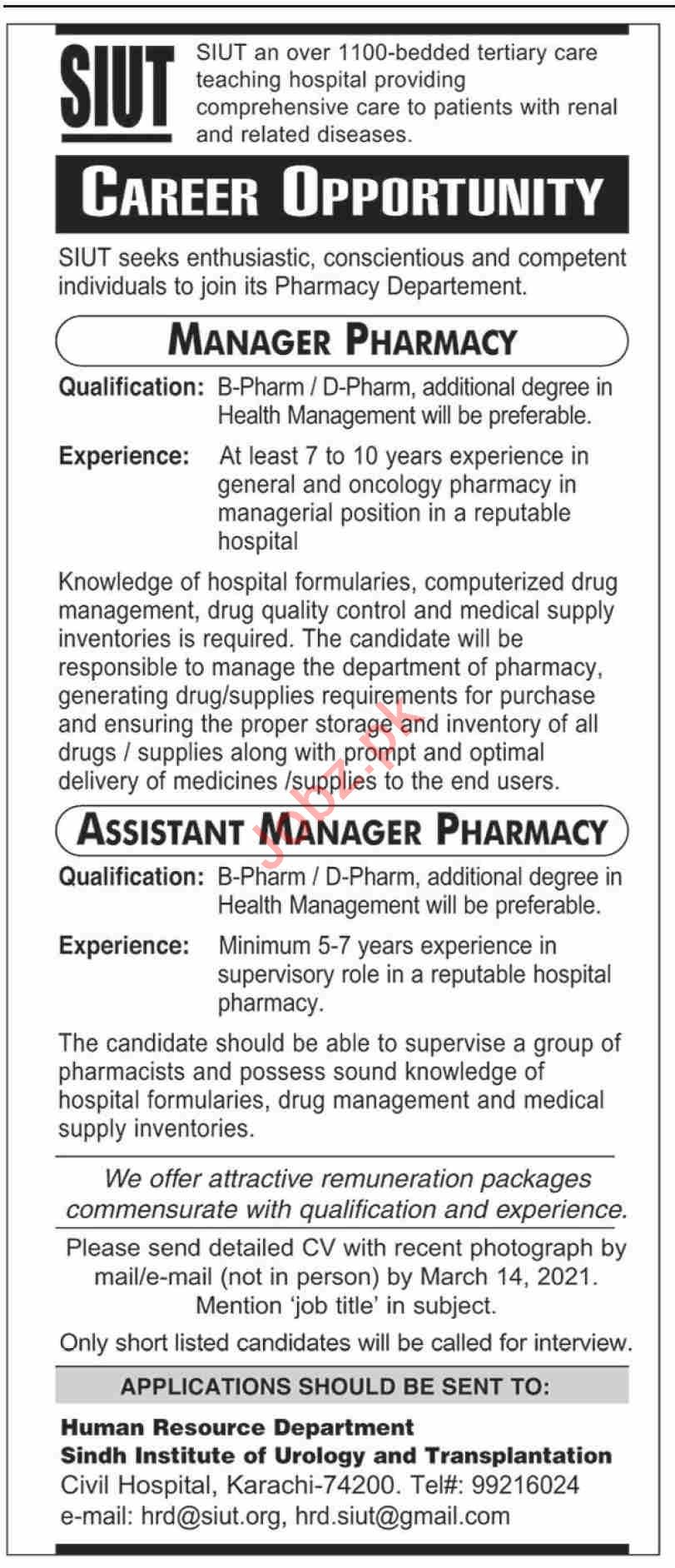 SIUT Jobs 2021 for Manager & Assistant Manager Pharmacy