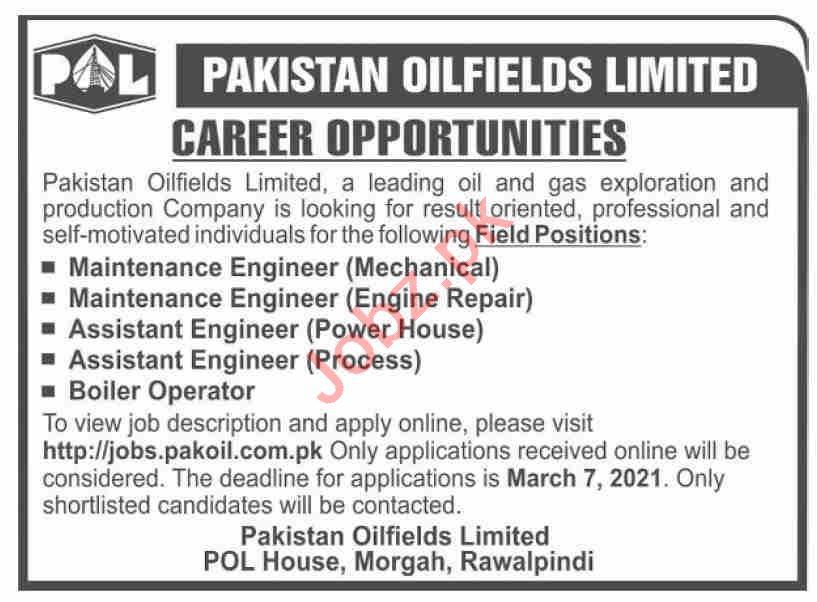 Pakistan Oilfields Limited POL Morgah Rawalpindi Jobs 2021