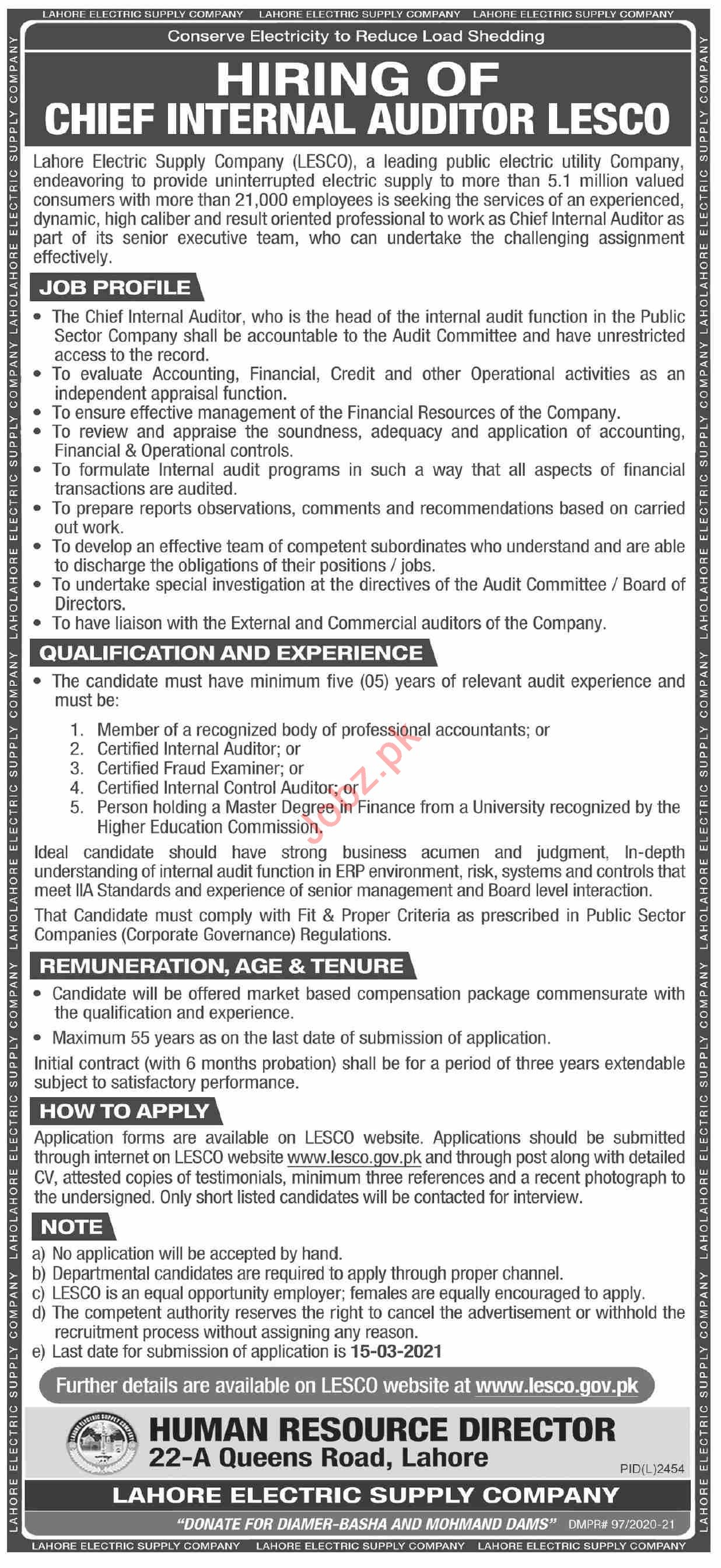 Lahore Electric Supply Company LESCO Jobs 2021 for Auditor