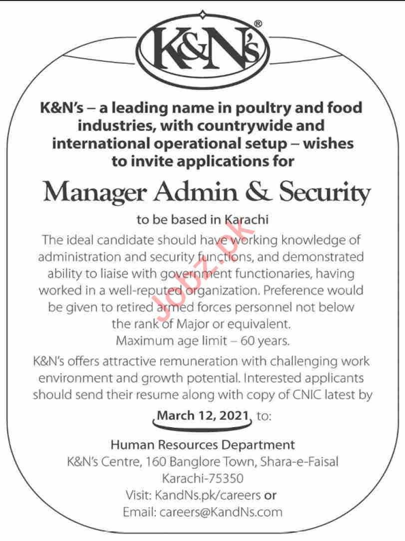 Manager Admin & Security Jobs 2021 in K&Ns Karachi