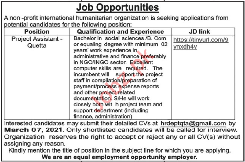 Project Assistant NGO Jobs 2021 in Quetta