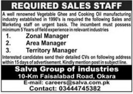 Salva Group of Industries Managment Jobs 2021