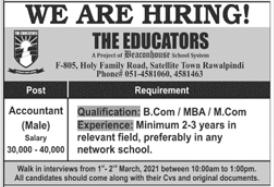 The Educators Rawalpindi Jobs 2021