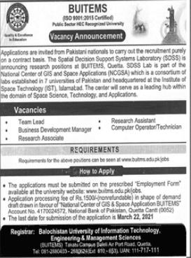 BUITEMS University Jobs 2021 in Quetta