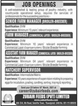 Poultry Industry Management Jobs 2021