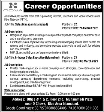 Nova Builders Islamabad Jobs 2021