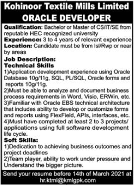Kohinoor Textile Mills Limited KTML Rawalpindi Jobs