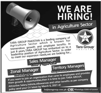 Tara Group Pakistan Management Jobs 2021