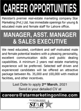 Sales Manager Jobs in Pakistan Premier Real Estate Marketing