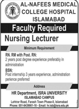 Al Nafees Medical College & Hospital Islamabad Jobs
