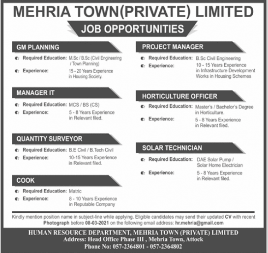 Mehria Town Private Limited Attock Jobs 2021