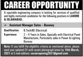 Assistant Manager Sales Jobs in Engineering Company