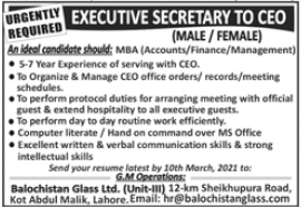 Executive Secretary Jobs in Balochistan Glass Limited