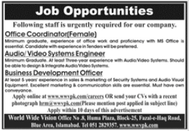 World Wide Vision Private Limited Islamabad Jobs 2021