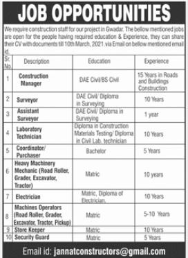 Construction Staff Jobs 2021 in Gwadar Balochistan