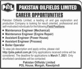 Pakistan Oilfields Limited Jobs 2021 in Rawalpindi