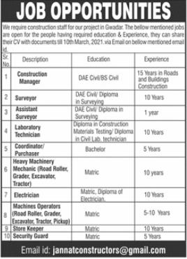 Management Jobs in Jannat Constructors